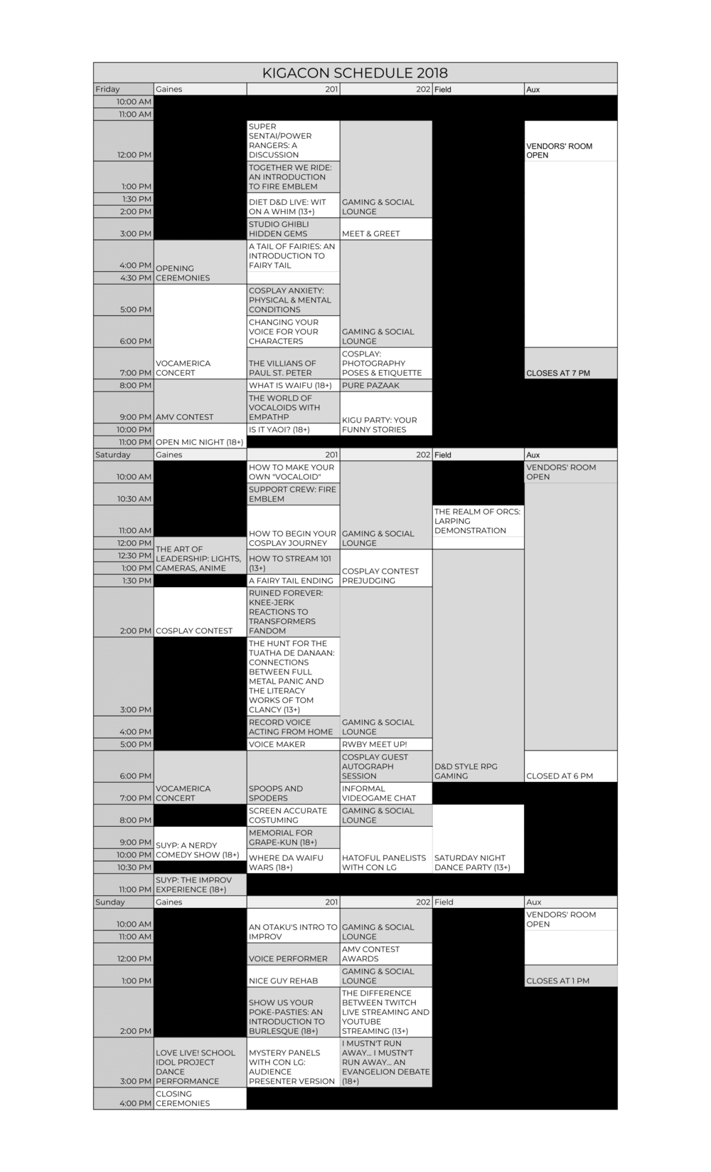 KIGACON 2018 CONVENTION SCHEDULE - FULL Convention Schedule (No Descriptions).png