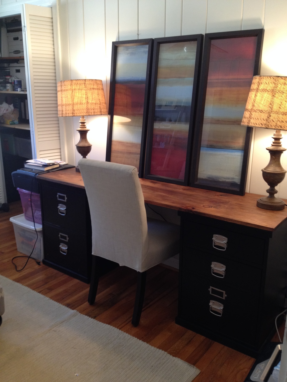desk with filing cabinets