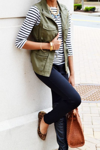 green vest with stripe shirt
