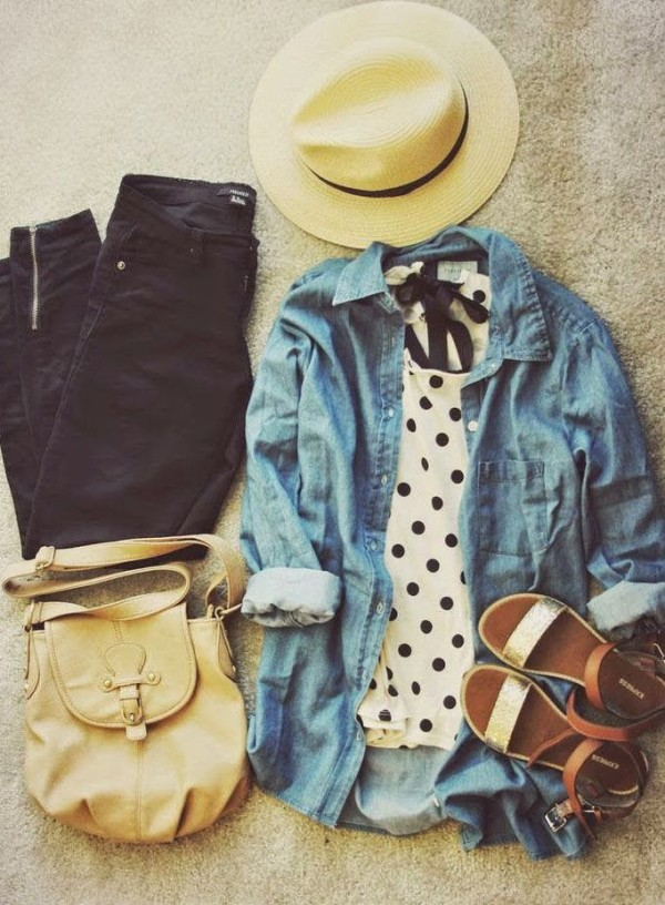polka dot, black jeans, chambray