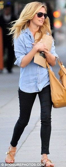 chambray and black jeans