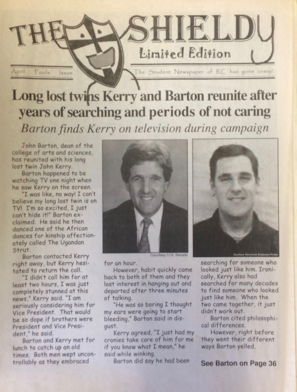 OUR FIRST APRIL FOOLS ISSUE IN 2005.