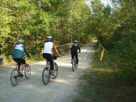 Bikers head north on paint creek trail