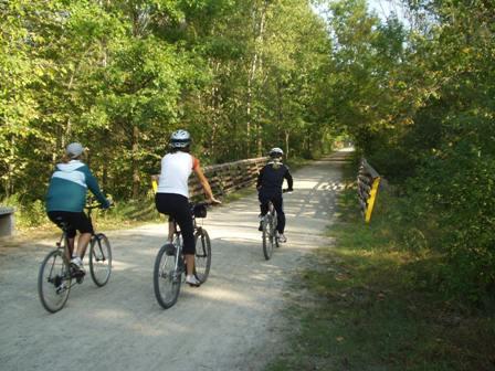 Bikers head north on paint creek trail