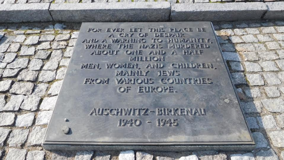 Memorial plaque at Auschwitz-Birkenau