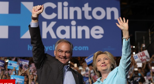 Clinton with running mate Tim Kaine.