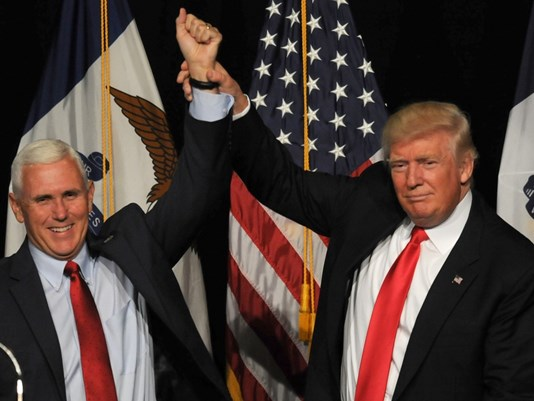 Trump with his running mate Mike Pence.