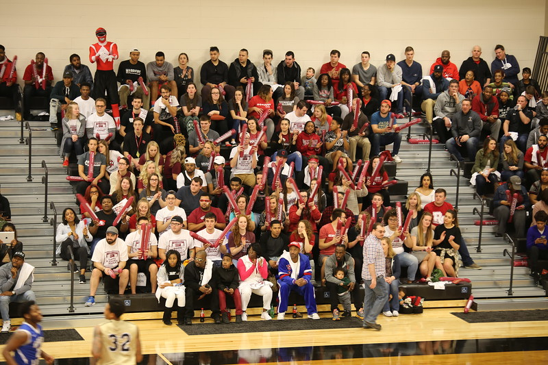 The student section watches the action during the first game in the garth pleasant arena on Feb. 18.