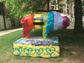 A Lipscomb student painted its bison to celebrate a Supreme Court ruling on gay marriage.