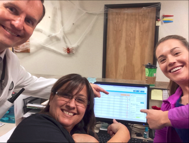 "Spotted in Colorado, Miramont team members snap a ""CareScreen selfie"" during a morning huddle."