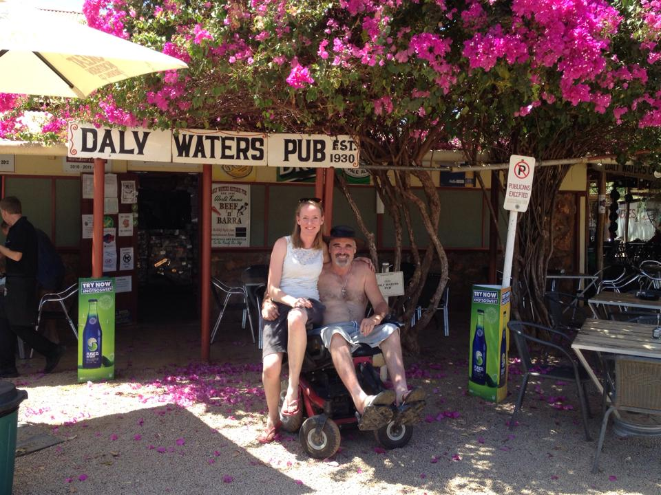 Getting into the swing of being on holiday - Jess and I at the Daly Waters Pub on our first trip in 2015.