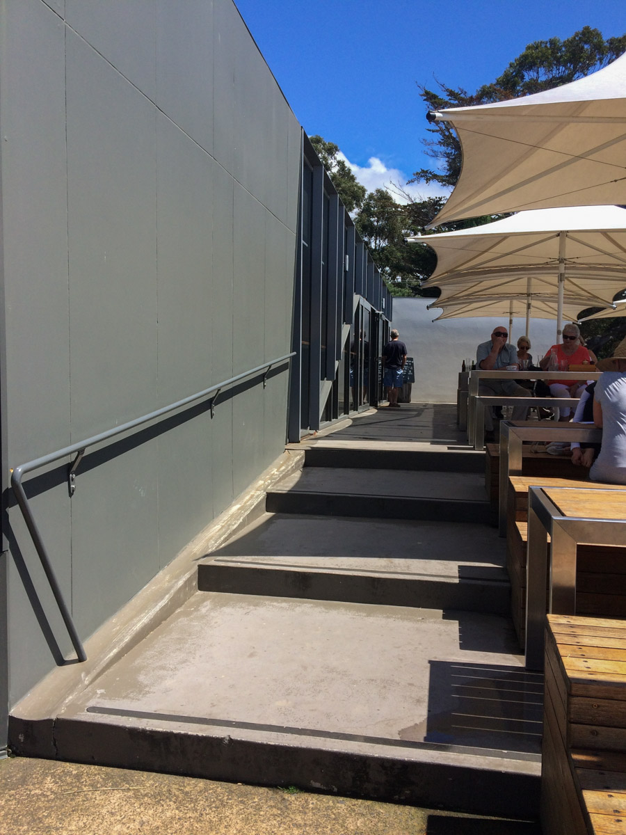 Not sure why the archietect didn't include a ramp here - there's only wheelchair access to the upper level from inside -  Peppermint Bay  restaurant and function centre in Woodbridge.