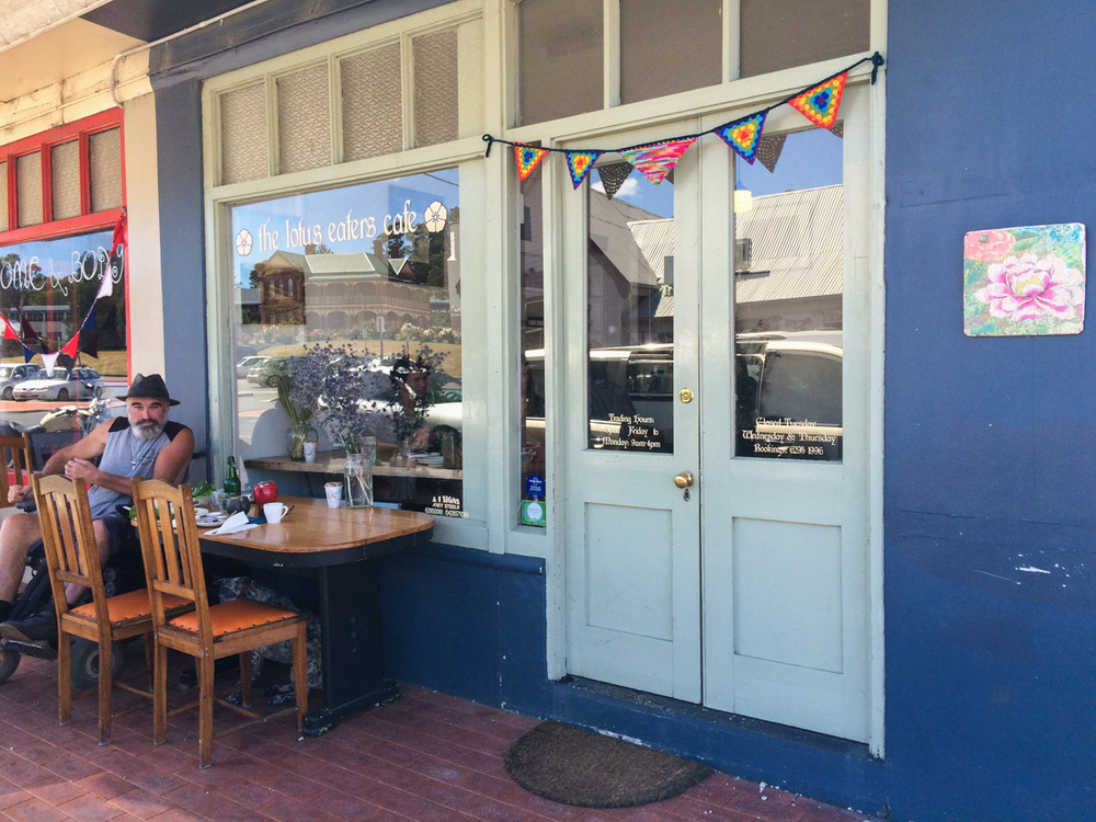 Lotus Eaters Cafe in Cygnet. Wheelchair access into cafe not great (may have been able to get it through side door) but there's plenty of outdoor seating.