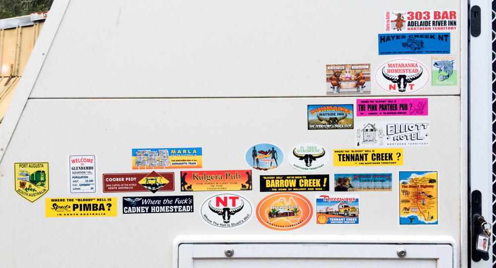 The Stuart Highway sticker haul on the toy hauler