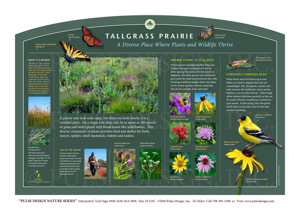 Interpretive Nature Trail Sign, Prairie and Grassland Habitats, Tallgrass Prairie