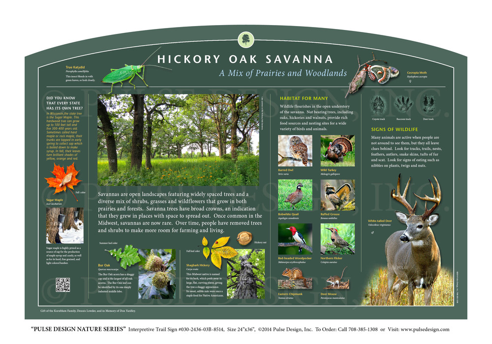 Interpretive Nature Trail Sign, Prairie and Grassland Habitats, Hickory Oak Savanna