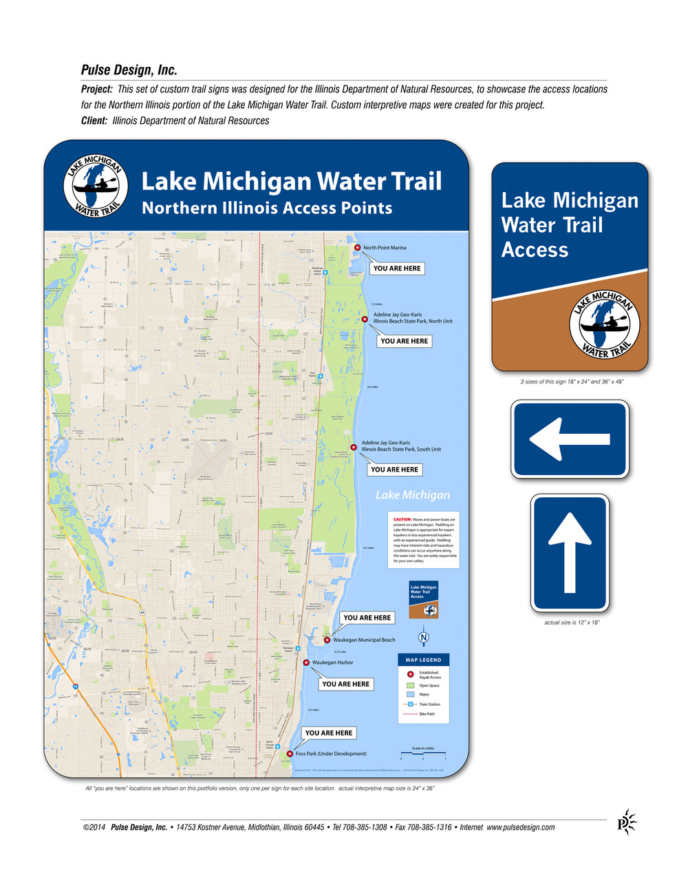 Client IDNR Water Trail   Pulse Design - Chicago map lake michigan