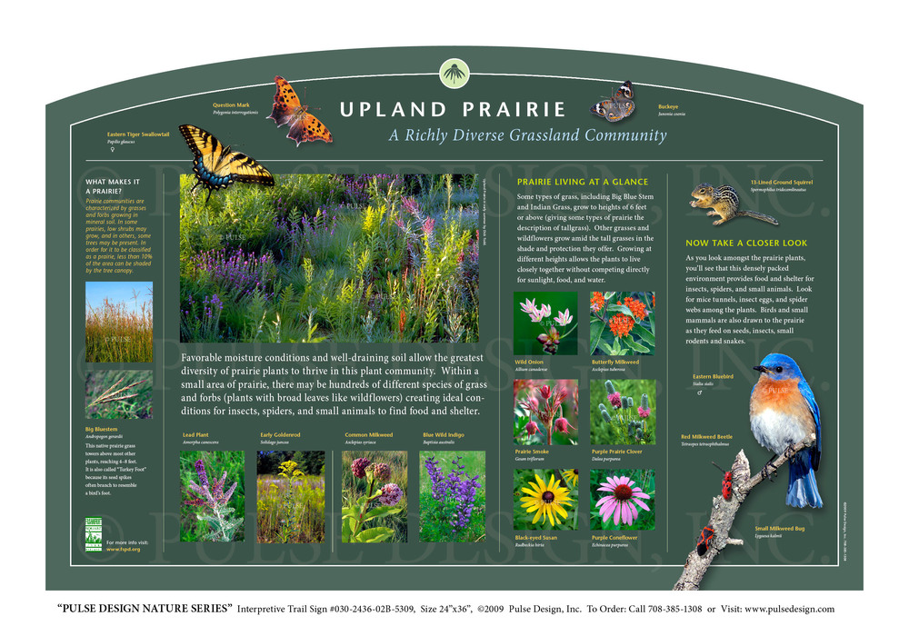 "Pulse Design provides Outdoor Interpretive Nature Trail Signs, Environmental Education Exhibits, Graphic Display Panels, Wayfinding Signage and Monuments, focused on Wildlife and Habitat throughout the United States. The  PULSE DESIGN NATURE SERIES  is a beautiful, ""Ready-to-Order"" and ""Customizable"" series of interpretive trail signs that cover many common nature subjects."