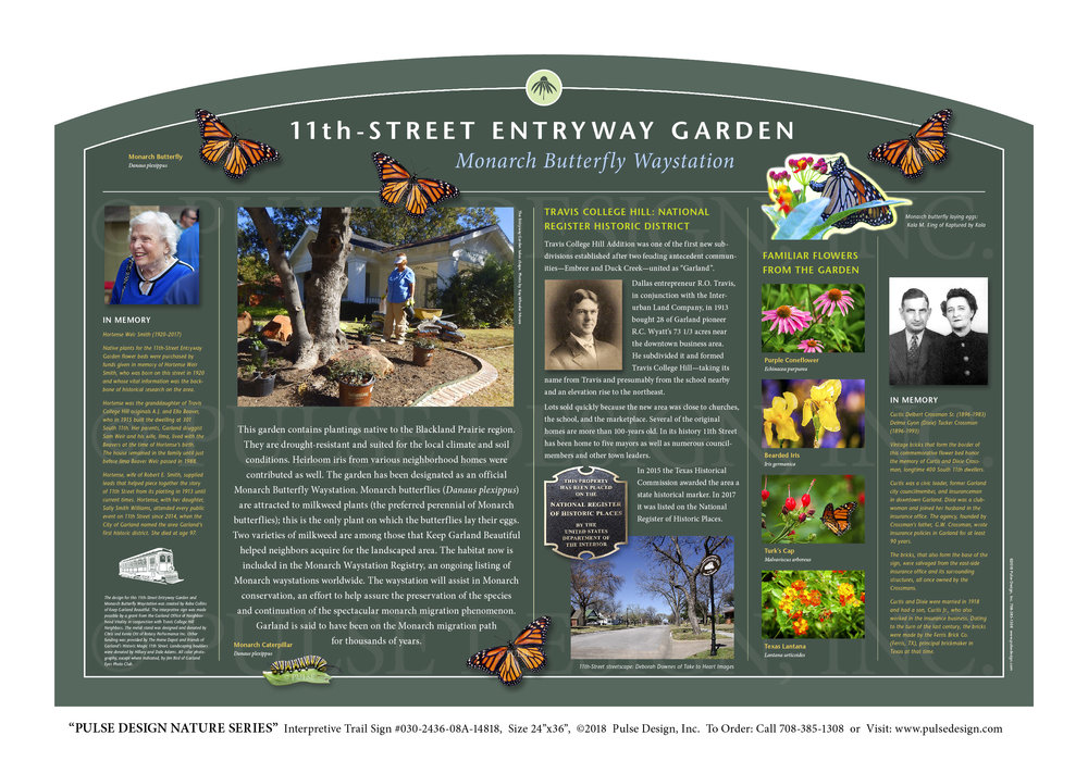 """Pulse Design provides Outdoor Interpretive Nature Trail Signs, Environmental Education Exhibits, Graphic Display Panels,Wayfinding Signage and Monuments, focused on Wildlife and Habitat throughout the United States. The  PULSE DESIGN NATURE SERIES is a beautiful, """"Ready-to-Order"""" and """"Customizable"""" series of interpretive trail signs that cover many common nature subjects. See more signs from our  INSECT & POLLINATOR SIGN SERIES  or  HISTORIC PRESERVATION SITE SIGNS ."""