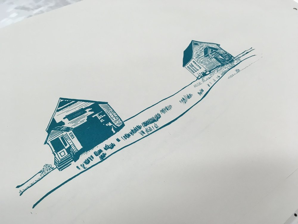I did a test print of just the houses. I really like how this turned out and think it would be cool on a card or a bag perhaps?