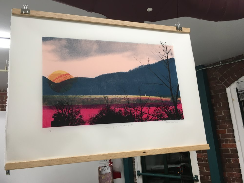"Title: Daydreaming at dusk in the Glen, 30"" x 22"", screen print on frosted mylar"