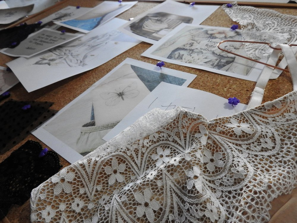 lazy girl lingerie moodboard bloom collection, intimates, lace handmade, indie lingerie, feminine, brisbane, gold coast, australian designer