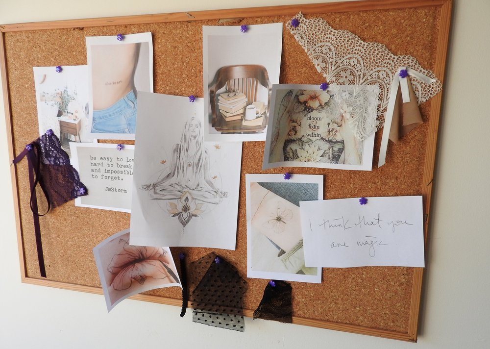 lazy girl lingerie, bloom collection, moodboard, inspiration, handmade, lingerie, behind the scenes, indie brand, ethical lingerie, australian, brisbane, gold coast