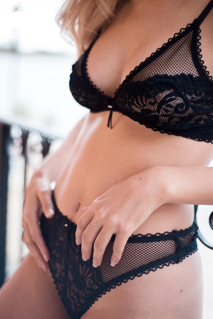 Blake black lace vintage inspired lingerie set by Lazy Girl Lingerie