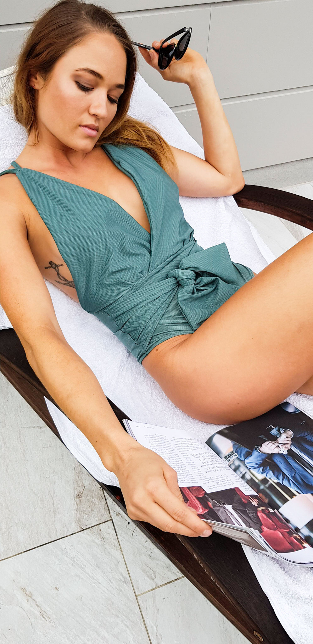 Teal retro inspired swimsuit by Lazy Girl Lingerie