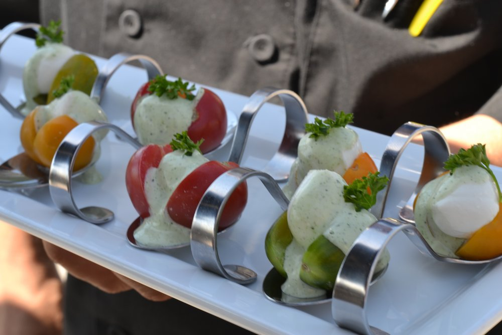 "Their version of caprese ""skewers"" love the spoons!"