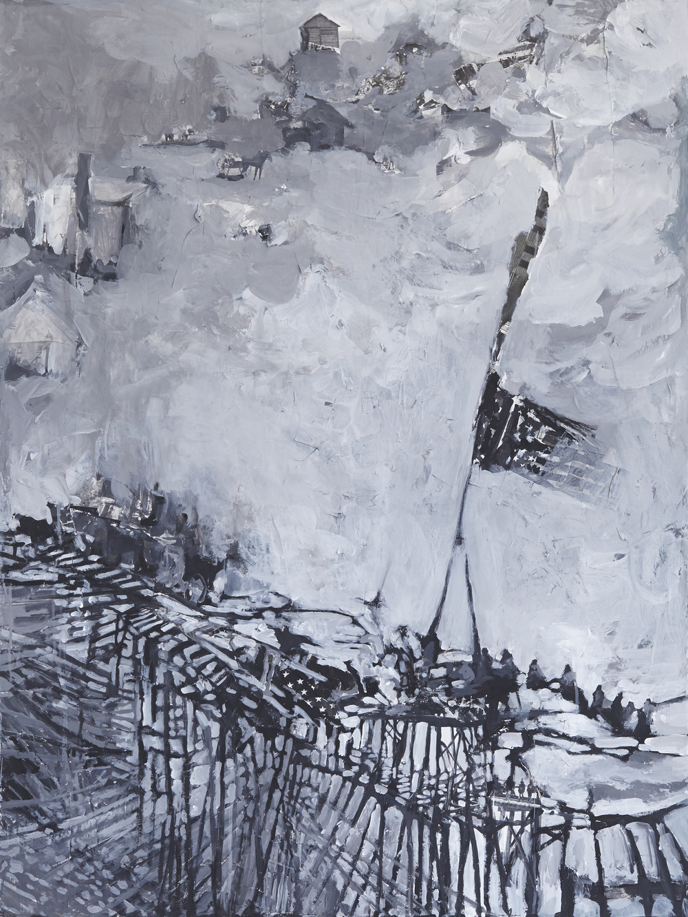 "Bridge, mixed media on panel, 36x 18"", 2013"