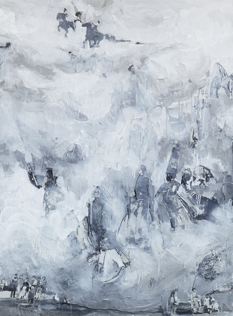 "Fog,  mixed media on panel, 48x36 "", 2013"