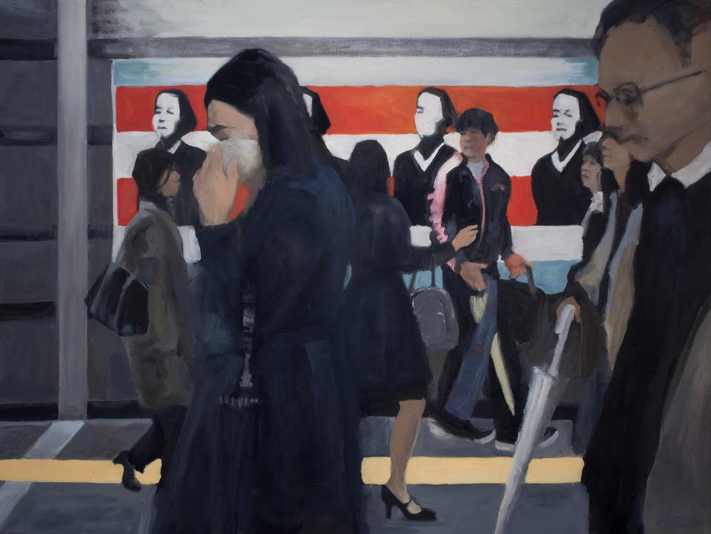 """Sakamoto in Metro II, Oil on Canvas, 36 x 48"""", 2010"""