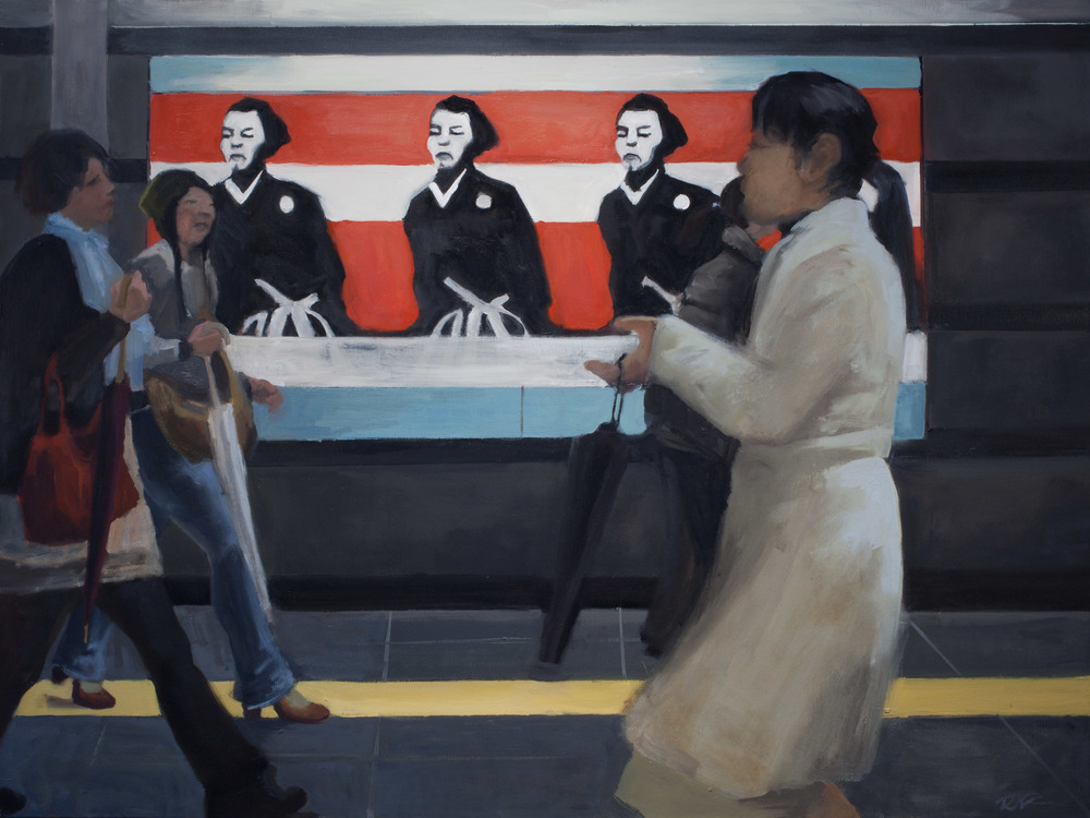 """Sakamoto in Metro, Oil on Canvas, 36 x 48"""", 2010"""