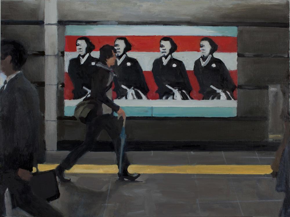 """Sakamoto in Metro, Oil on Board, 18 x 24"""", 2010"""