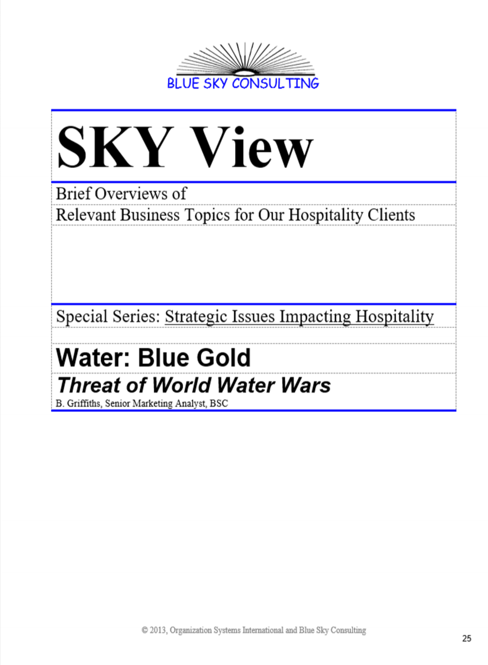 Sample Innoveren Memo: Article about Water Scarcity