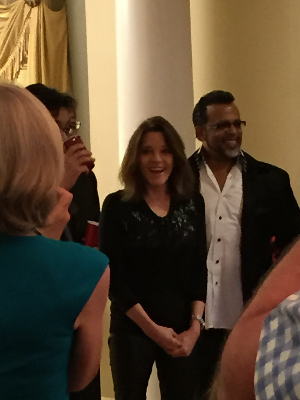 Marianne Williamson speaking at Anniversary party