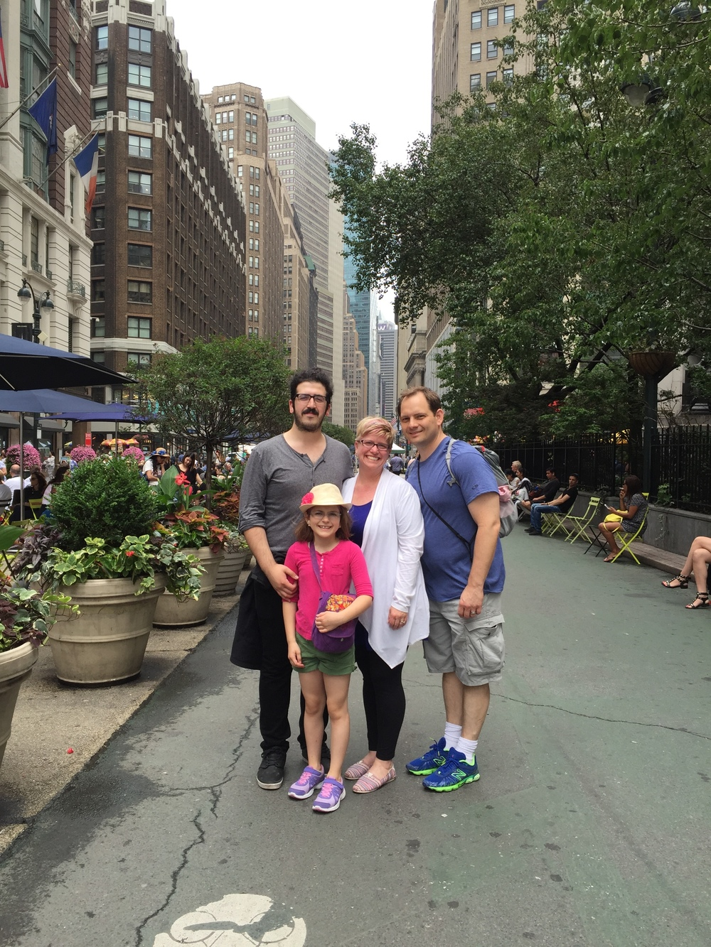 Emily with her family in New York City, June 2015 - Scott, Sage, and Rickey