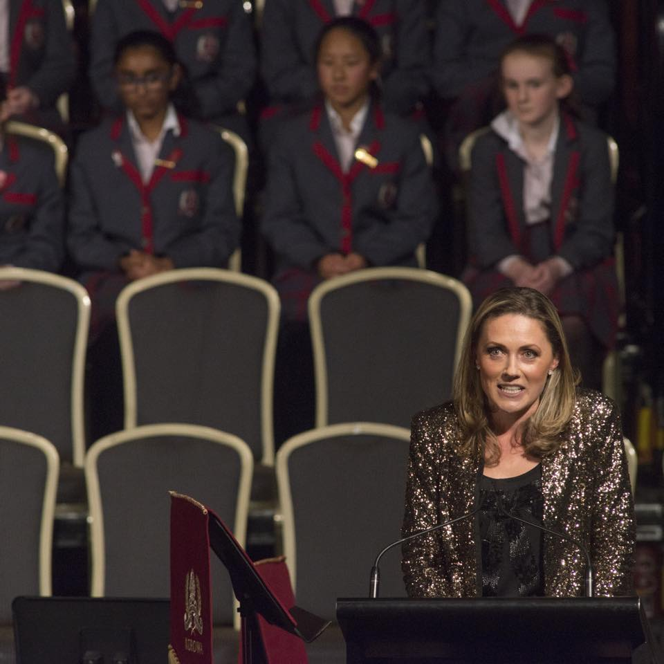 marney mcqueen MC of korowa girls school, school concert at melb town hall.jpg