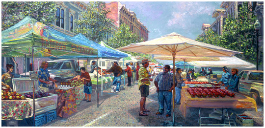 Painting by  Anthony Holdsworth,  of Old Oakland Farmers' Market, circa 1997