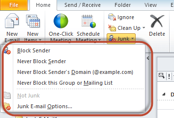 Outlook Junk Filter Image 2