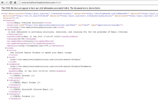 RSS XML Code Page