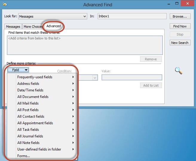 Outlook Advanced Find Screenshot8