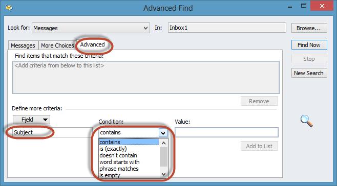 Outlook Advanced Find Screenshot9