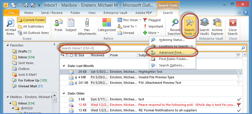 Where is Advanced Find/Search in Outlook 2010 and 2013