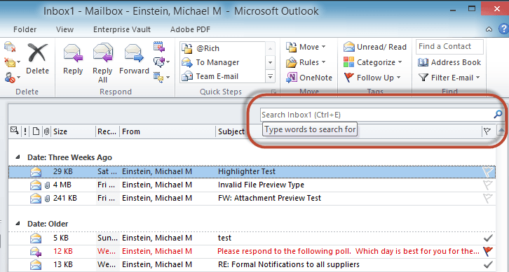 Outlook Search Terms Screenshot1
