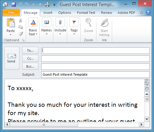 email format template