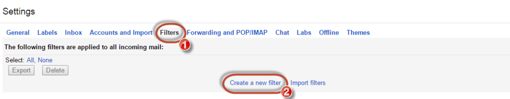 Gmail whitelist create new filter