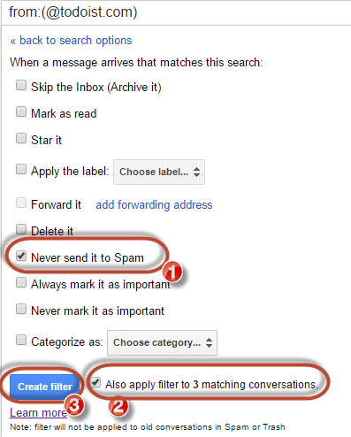 gmail whitelist never send to spam