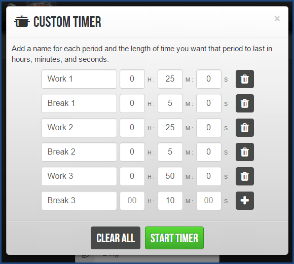 Marinara Timer - Custom Timer Option